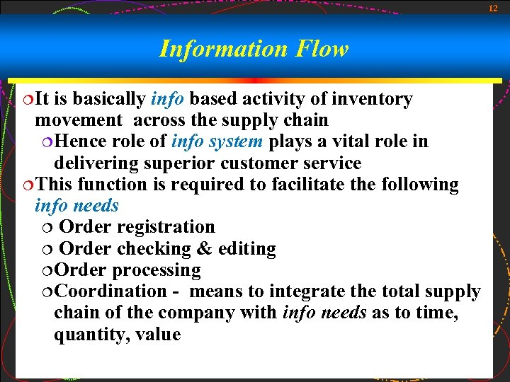 12 Information Flow ¦It is basically info based activity of inventory movement across the