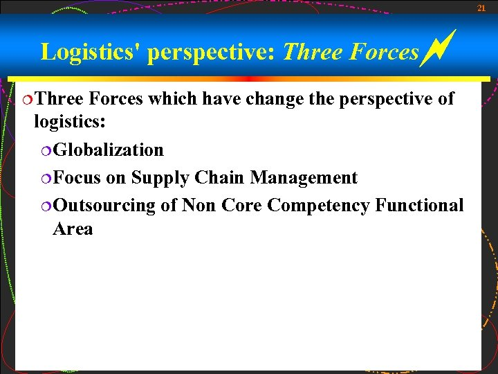 21 Logistics' perspective: Three Forces ¦Three Forces which have change the perspective of logistics: