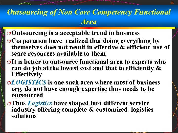 24 Outsourcing of Non Core Competency Functional Area ¦ Outsourcing is a acceptable trend
