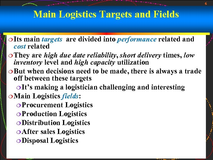 6 Main Logistics Targets and Fields ¦ Its main targets are divided into performance