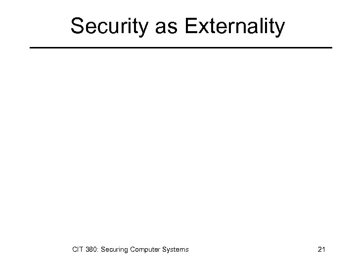Security as Externality CIT 380: Securing Computer Systems 21