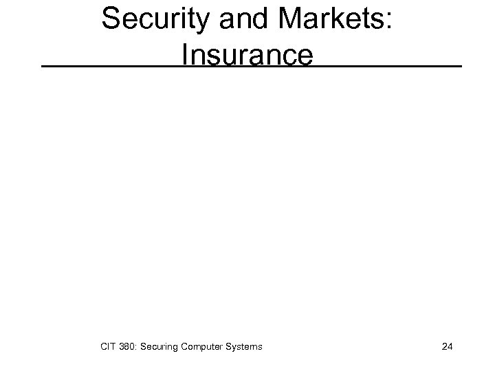Security and Markets: Insurance CIT 380: Securing Computer Systems 24