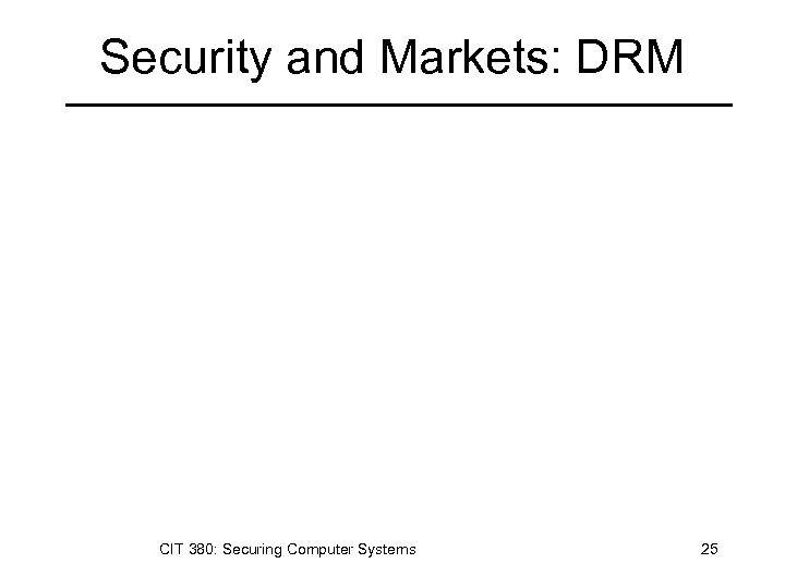 Security and Markets: DRM CIT 380: Securing Computer Systems 25