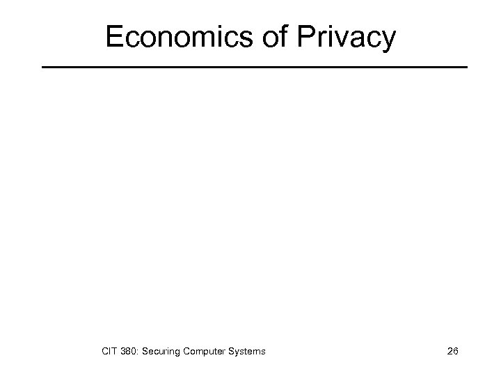 Economics of Privacy CIT 380: Securing Computer Systems 26