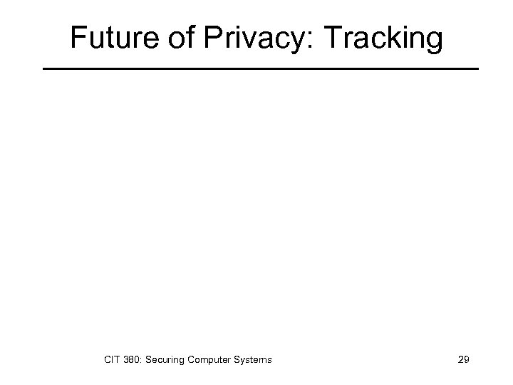Future of Privacy: Tracking CIT 380: Securing Computer Systems 29