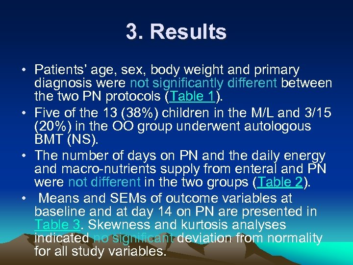 3. Results • Patients' age, sex, body weight and primary diagnosis were not significantly