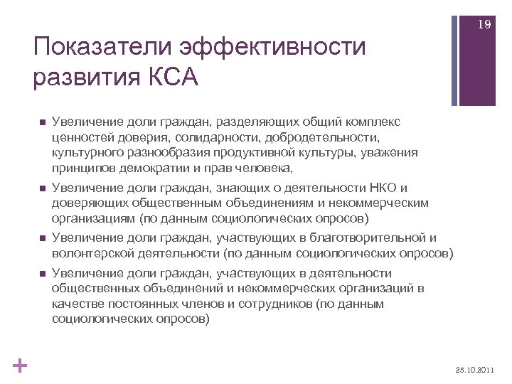 Показатели эффективности развития КСА n Увеличение доли граждан, знающих о деятельности НКО и доверяющих
