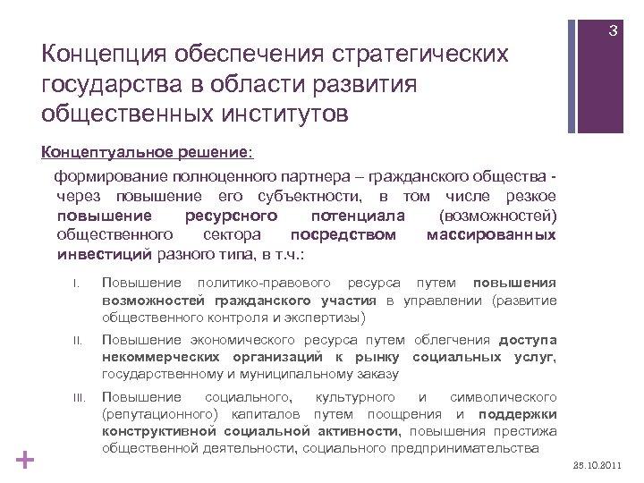 Концепция обеспечения стратегических государства в области развития общественных институтов 3 Концептуальное решение: формирование полноценного