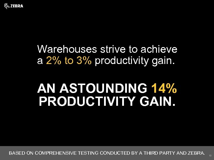 Warehouses strive to achieve a 2% to 3% productivity gain. AN ASTOUNDING 14% PRODUCTIVITY