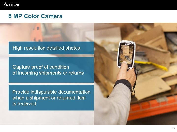 8 MP Color Camera High resolution detailed photos Capture proof of condition of incoming