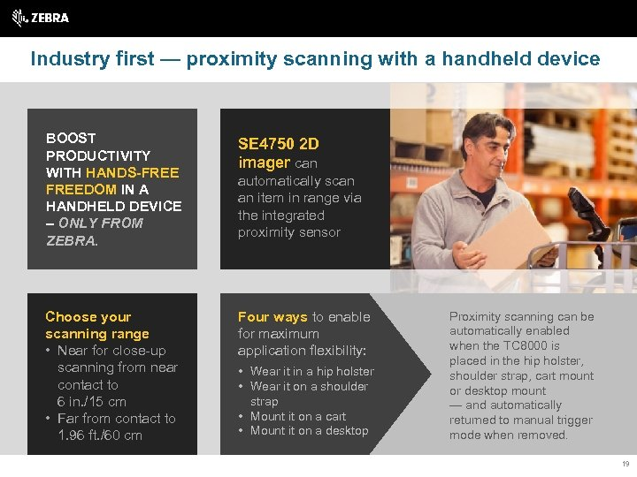 Industry first — proximity scanning with a handheld device BOOST PRODUCTIVITY WITH HANDS-FREEDOM IN