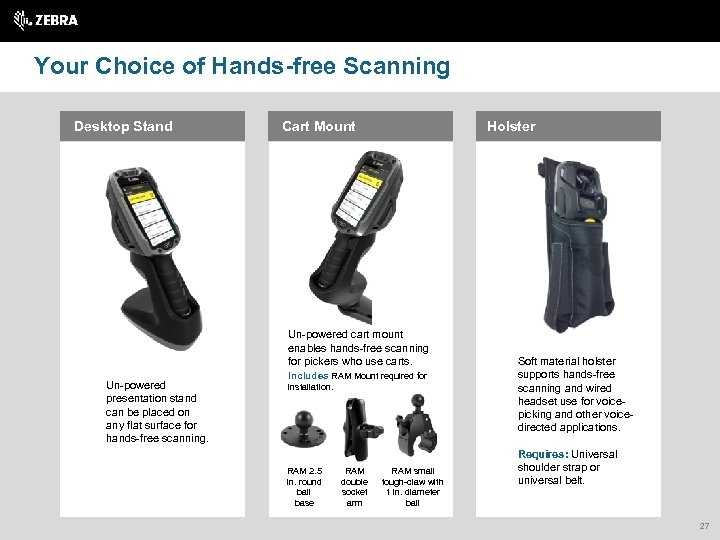 Your Choice of Hands-free Scanning Desktop Stand Cart Mount Holster Un-powered cart mount enables