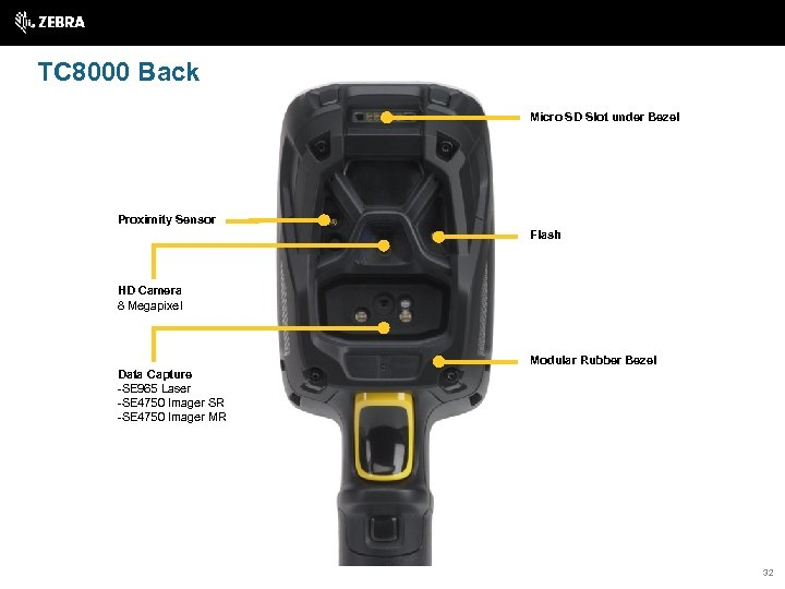 TC 8000 Back Micro SD Slot under Bezel Proximity Sensor Flash HD Camera 8