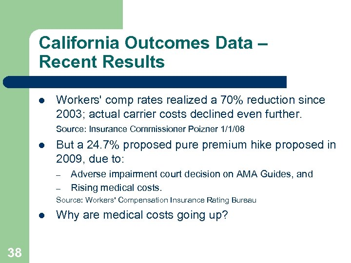 California Outcomes Data – Recent Results l Workers' comp rates realized a 70% reduction