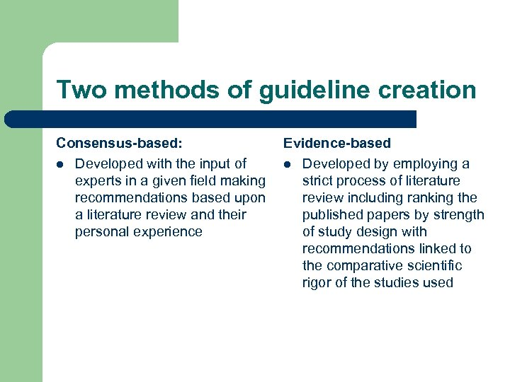 Two methods of guideline creation Consensus-based: Evidence-based l Developed with the input of l