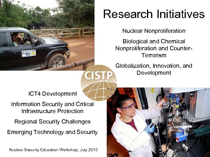 Research Initiatives Nuclear Nonproliferation Biological and Chemical Nonproliferation and Counter. Terrorism Globalization, Innovation, and