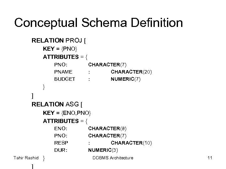Conceptual Schema Definition RELATION PROJ [ KEY = {PNO} ATTRIBUTES = { PNO: PNAME