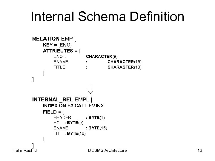 Internal Schema Definition RELATION EMP [ KEY = {ENO} ATTRIBUTES = { ENO :