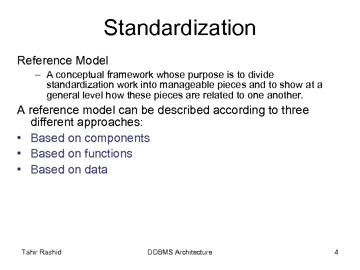 Standardization Reference Model – A conceptual framework whose purpose is to divide standardization work
