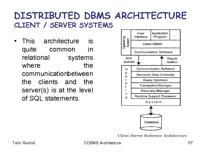 DISTRIBUTED DBMS ARCHITECTURE CLIENT / SERVER SYSTEMS • This architecture is quite common in