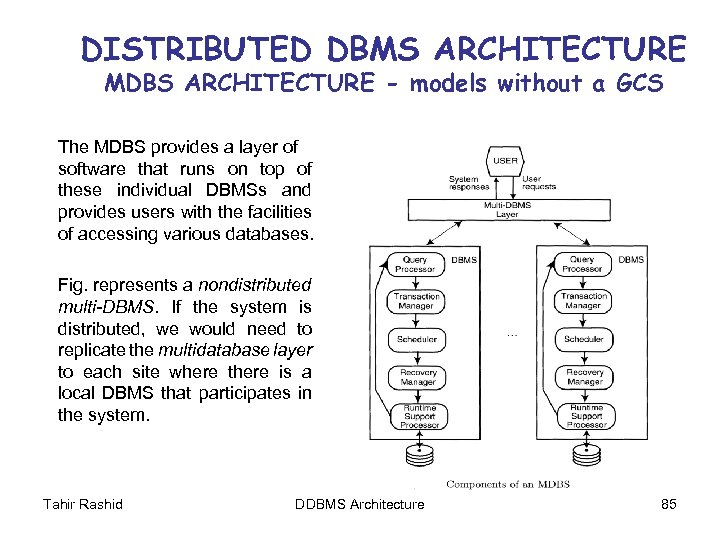 DISTRIBUTED DBMS ARCHITECTURE MDBS ARCHITECTURE - models without a GCS The MDBS provides a