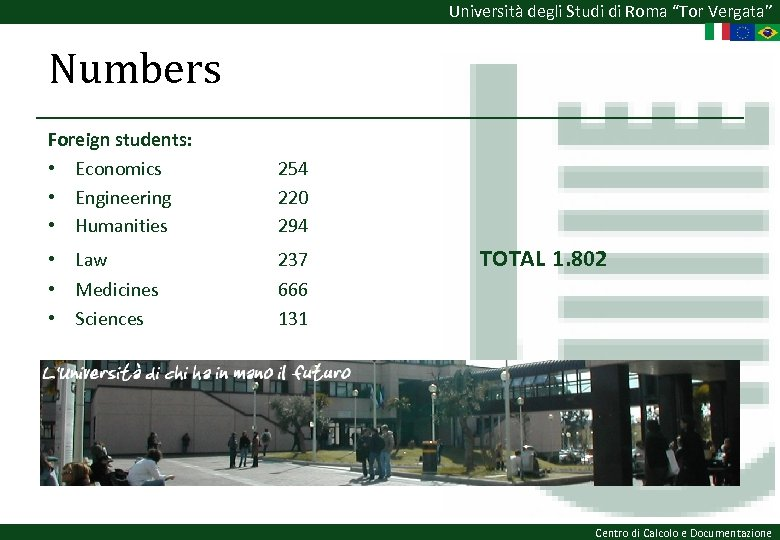 "Università degli Studi di Roma ""Tor Vergata"" Numbers Foreign students: • Economics • Engineering"