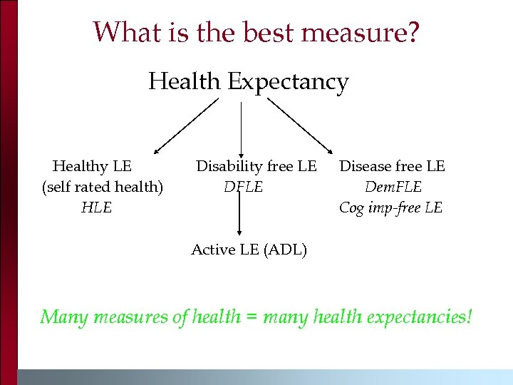 What is the best measure? Health Expectancy Healthy LE (self rated health) HLE Disability