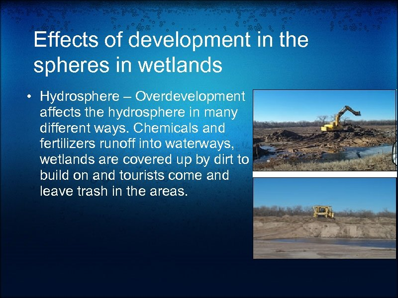 Effects of development in the spheres in wetlands • Hydrosphere – Overdevelopment affects the