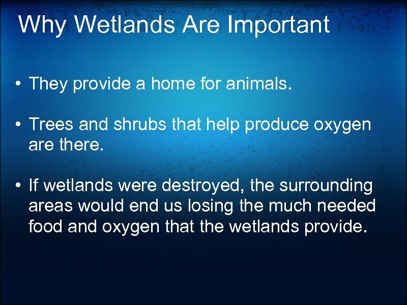 Why Wetlands Are Important • They provide a home for animals. • Trees and