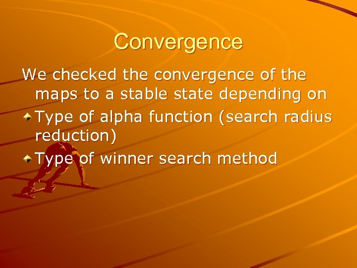Convergence We checked the convergence of the maps to a stable state depending on