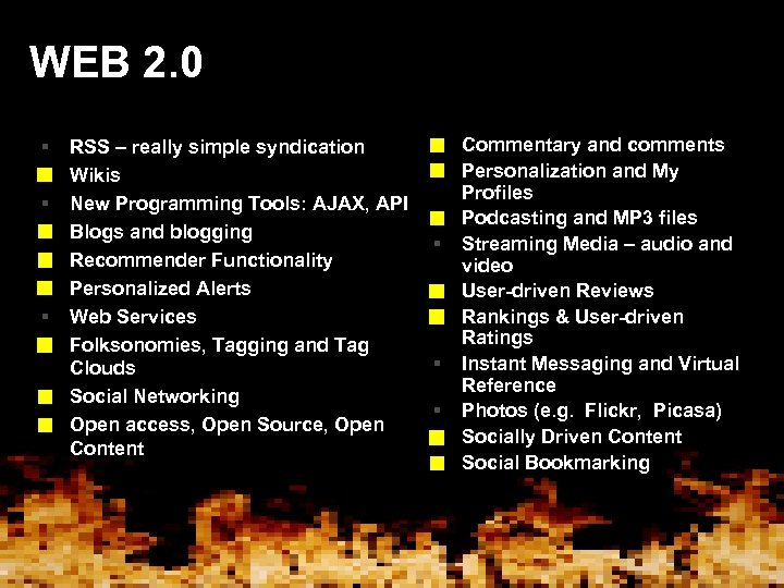 WEB 2. 0 § § § § § RSS – really simple syndication Wikis