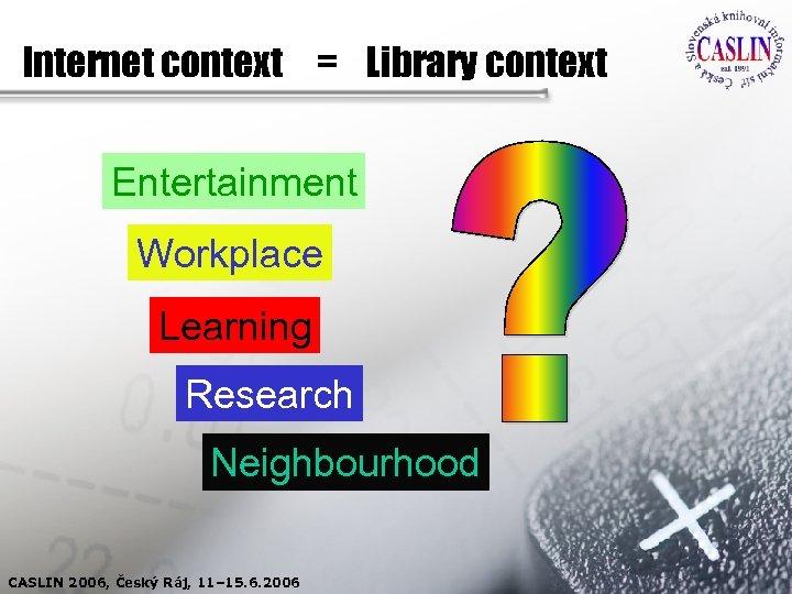 Internet context = Library context Entertainment Workplace Learning Research Neighbourhood CASLIN 2006, Český Ráj,