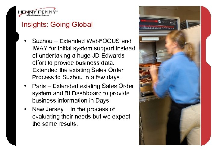 Insights: Going Global • Suzhou – Extended Web. FOCUS and IWAY for initial system