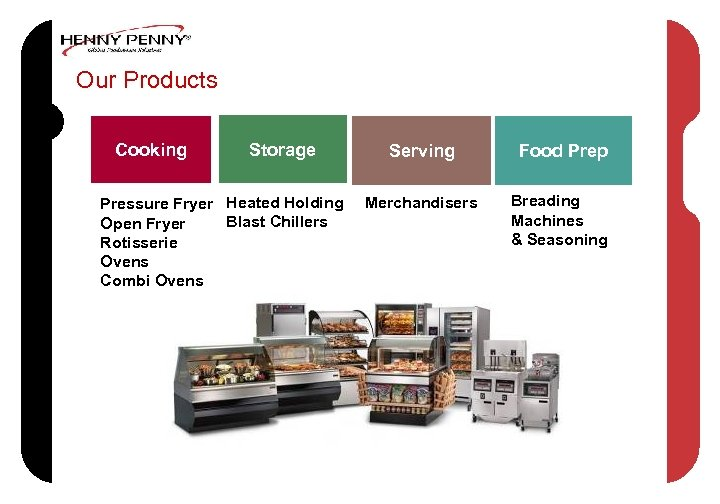 Our Products Cooking Storage Pressure Fryer Heated Holding Blast Chillers Open Fryer Rotisserie Ovens