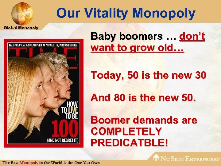 Our Vitality Monopoly Global Monopoly Baby boomers … don't want to grow old… Today,