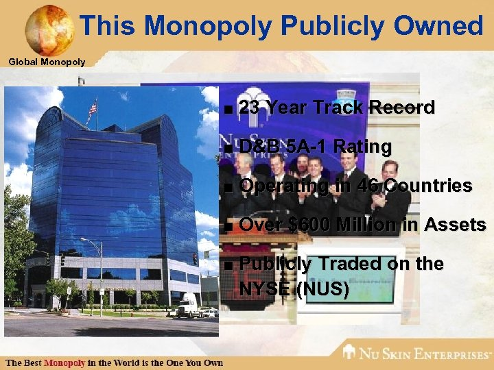 This Monopoly Publicly Owned Global Monopoly ■ 23 Year Track Record ■ D&B 5