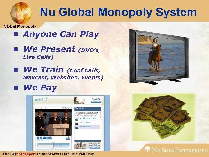 Nu Global Monopoly System Global Monopoly ¾ Anyone Can Play ¾ We Present (DVD's,