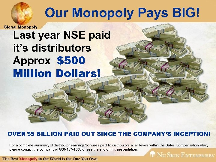 Our Monopoly Pays BIG! Global Monopoly Last year NSE paid it's distributors Approx $500