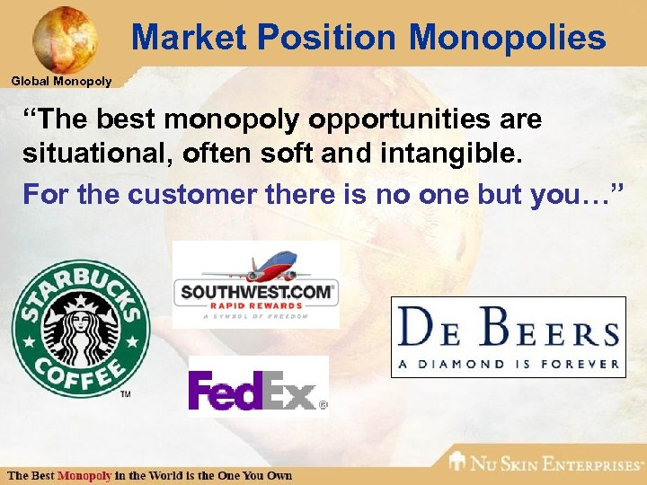 """Market Position Monopolies Global Monopoly """"The best monopoly opportunities are situational, often soft and"""