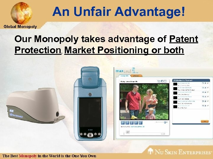 An Unfair Advantage! Global Monopoly Our Monopoly takes advantage of Patent Protection, Market Positioning