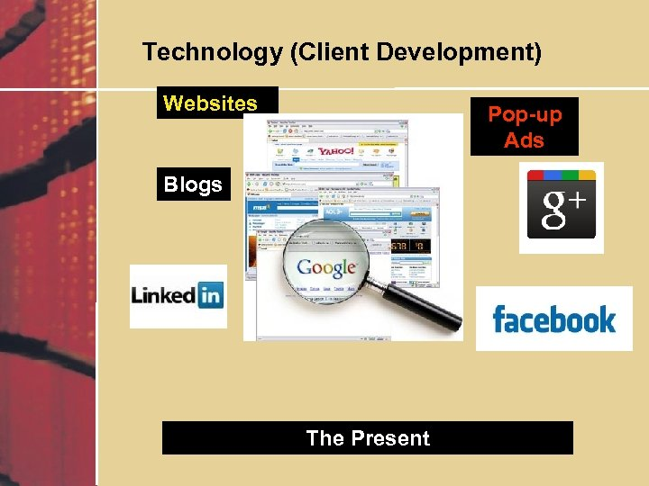 Technology (Client Development) Websites Pop-up Ads Blogs The Present
