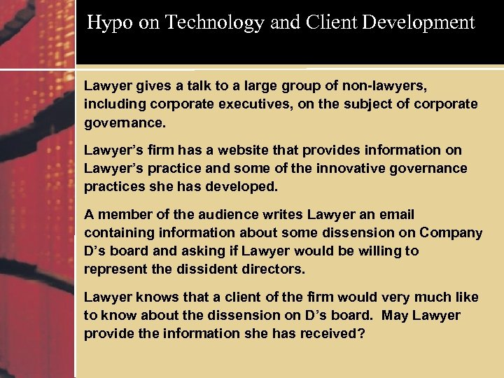 Hypo on Technology and Client Development Lawyer gives a talk to a large group