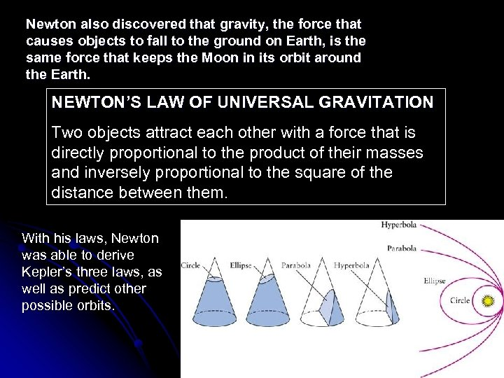 Newton also discovered that gravity, the force that causes objects to fall to the