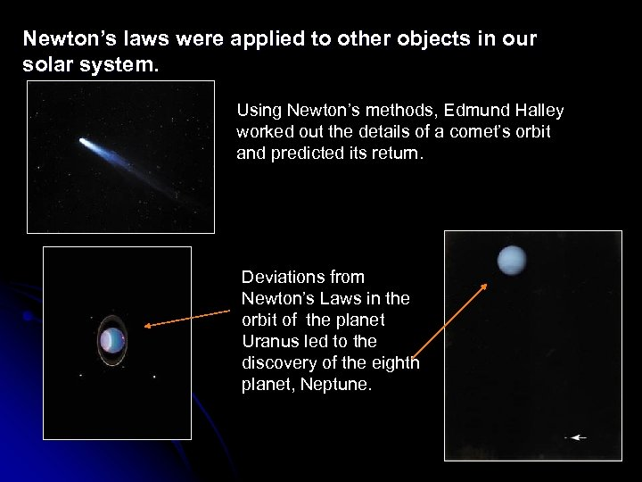 Newton's laws were applied to other objects in our solar system. Using Newton's methods,
