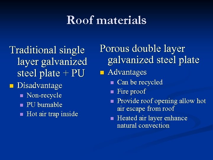 Roof materials Traditional single layer galvanized steel plate + PU n Disadvantage n n