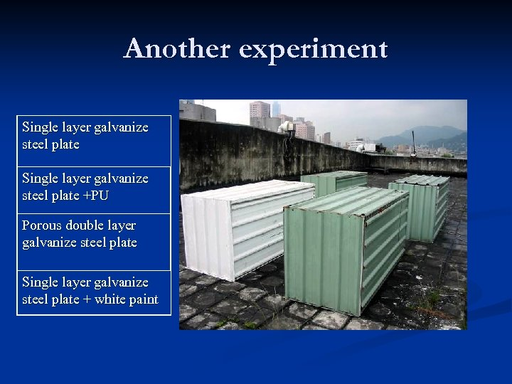 Another experiment Single layer galvanize steel plate +PU Porous double layer galvanize steel plate
