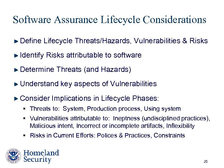 Software Assurance Lifecycle Considerations Define Lifecycle Threats/Hazards, Vulnerabilities & Risks Identify Risks attributable to