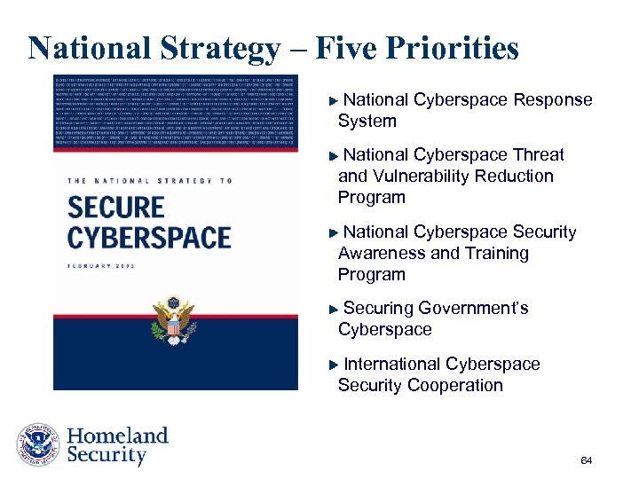 National Strategy – Five Priorities National Cyberspace Response System National Cyberspace Threat and Vulnerability