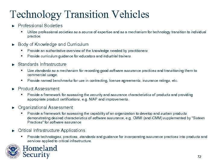 Technology Transition Vehicles Professional Societies § Utilize professional societies as a source of expertise