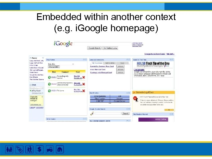 Embedded within another context (e. g. i. Google homepage)